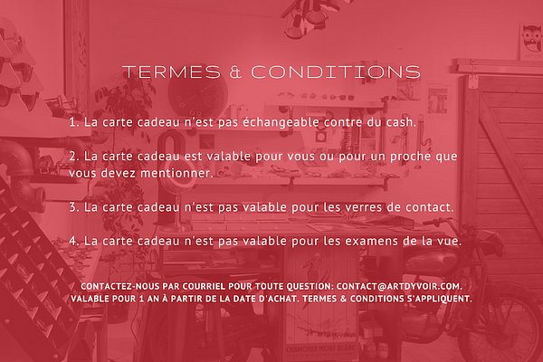 Carte cadeau Termes & Conditions